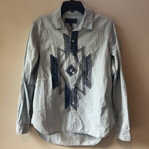 *NWT* Lucky Brand Blue Jean Button Down Top